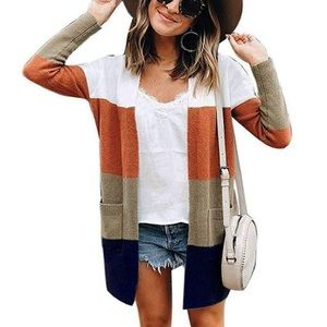 Sweaters - Striped Open Front Color-block Cardigan